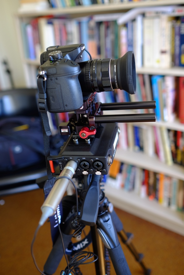 The DR-70 Rigged up to a Panasonic GH3 with a Zacuto Mini-DSLR Baseplate