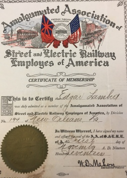 New Orleans Street Railway Union records, Manuscripts Collection 26, Louisiana Research Collection, Howard-Tilton Memorial Library, Tulane University, New Orleans, LA 70118