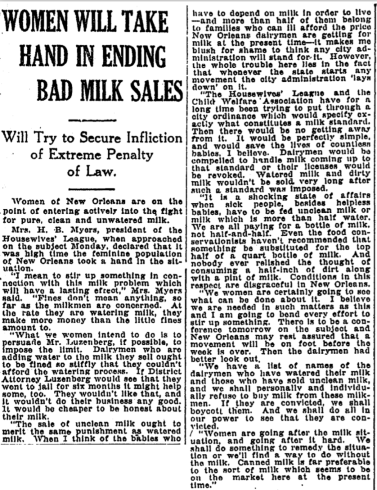 Women Will Take Hand in Ending Bad Milk Sales.png
