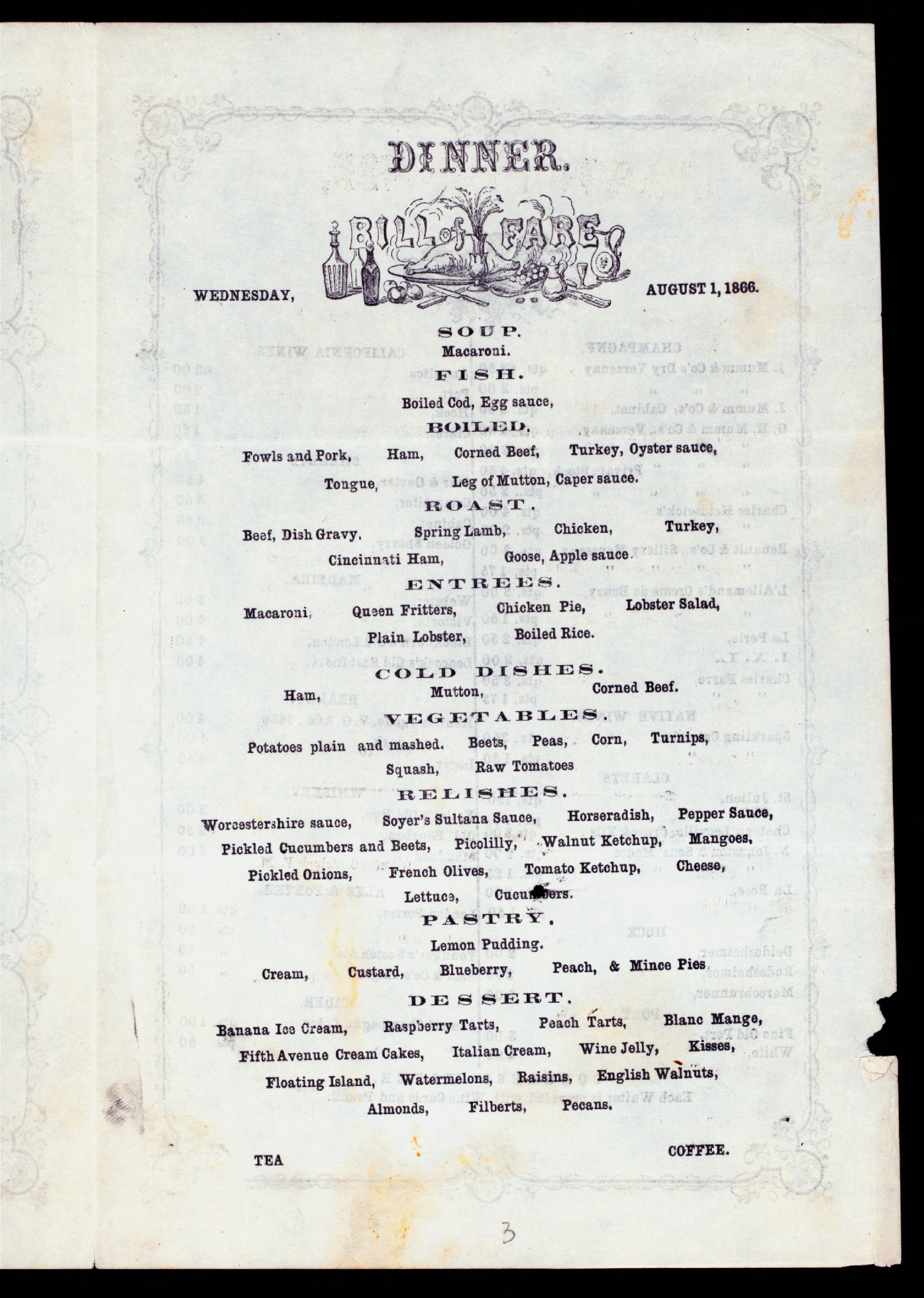 Crawford House Menu 1