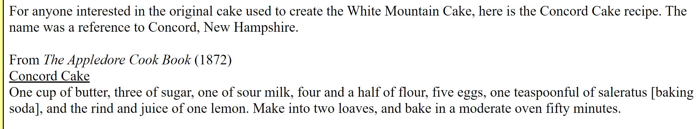 White Mountain Cake Recipe