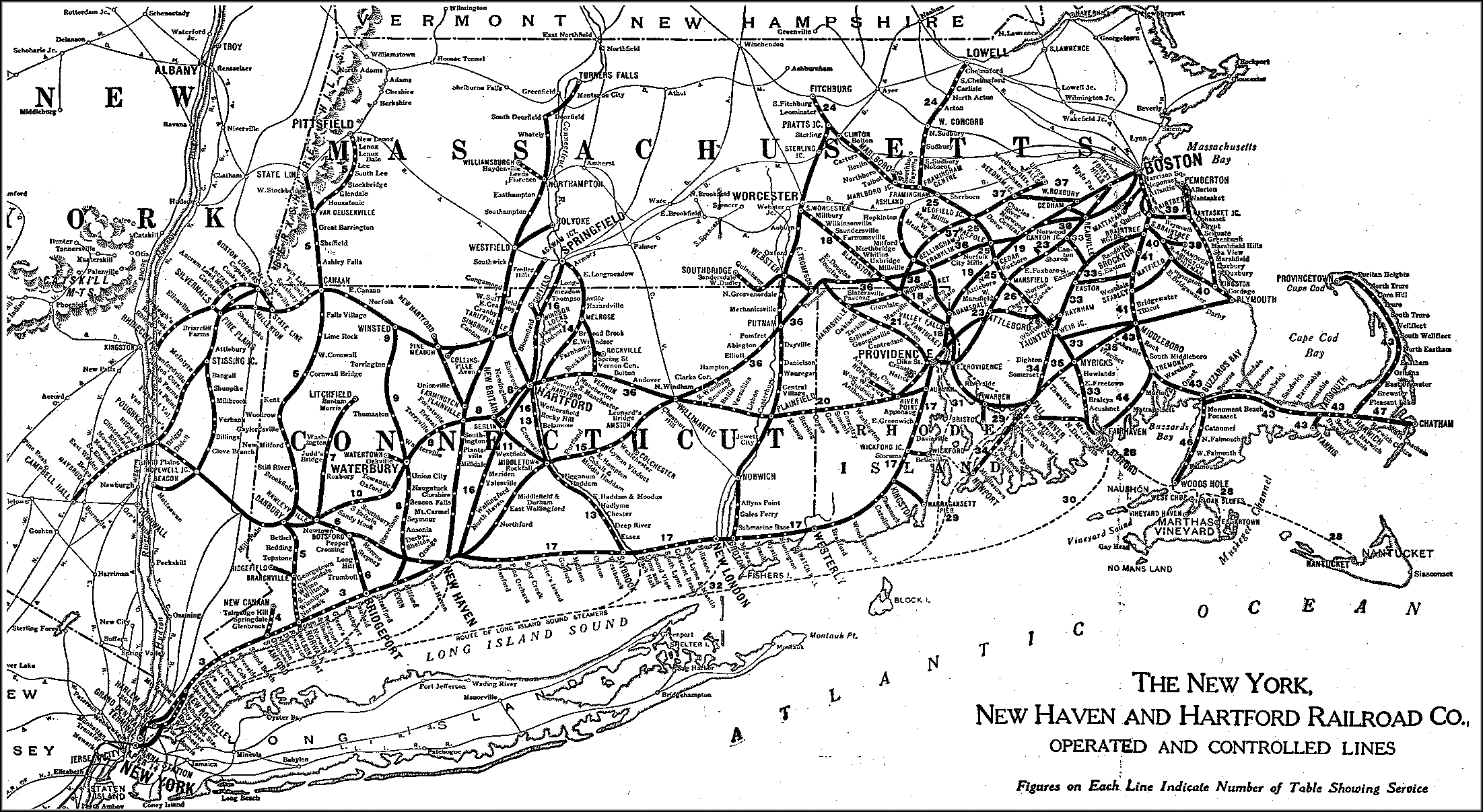 1929 New Haven Railroad map.  (NHRHTA collection)